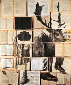 Errata Corrige #2234, 2013. Vintage book, inks, nails on wood panel; cm 130×110. Private Collection.
