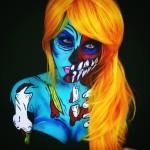 Maquillaje gótico eléctrico corporal: Corie Willet
