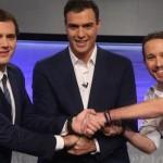 Corrupción, impuestos y otras claves del debate Sánchez, Iglesias y Rivera